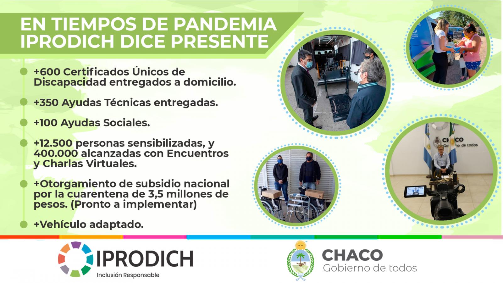 EN TIEMPOS DE PANDEMIA, IPRODICH DICE PRESENTE PARA LAS PERSONAS CON DISCAPACIDAD