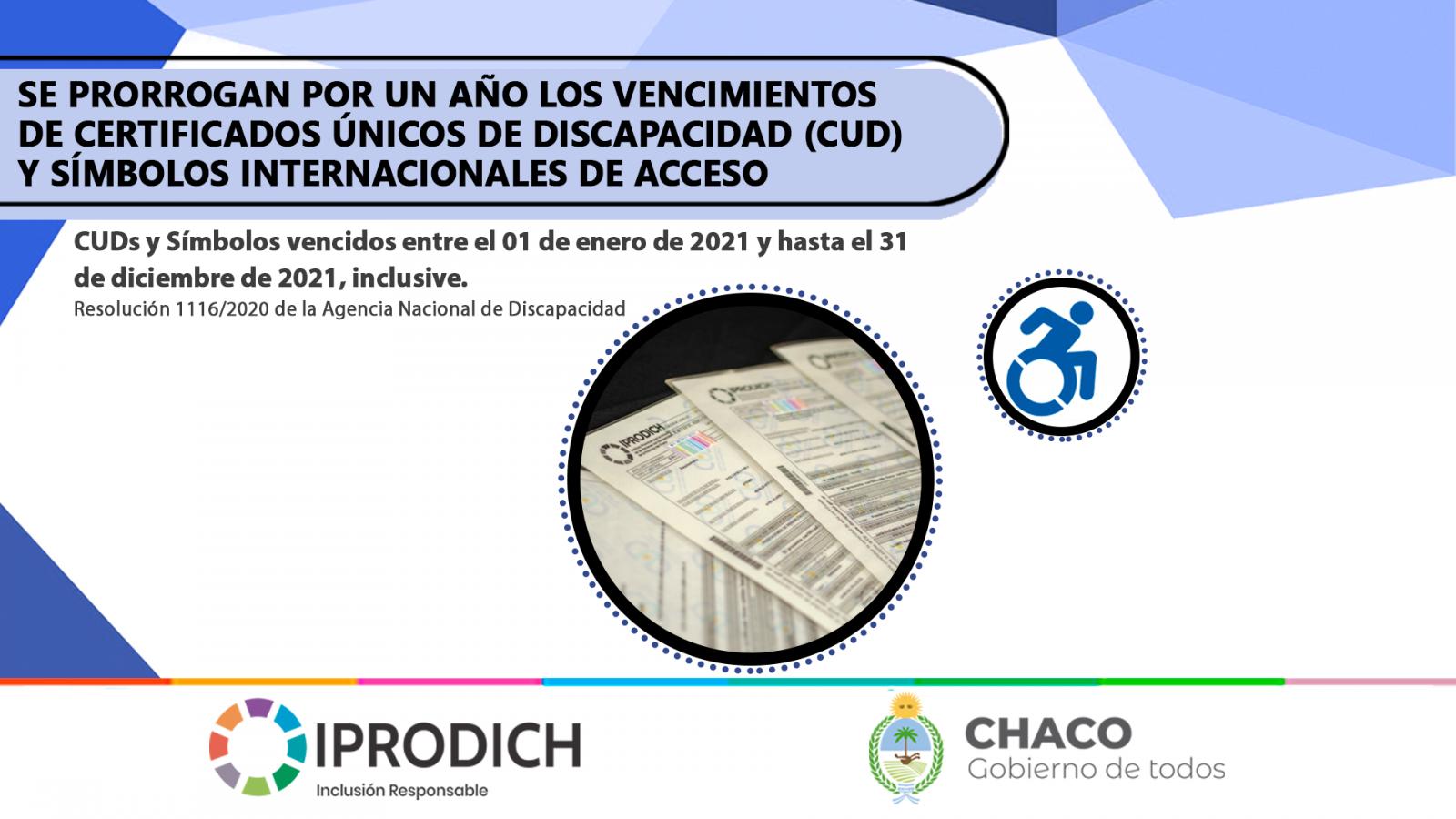 IPRODICH INFORMA QUE SE PRORROGAN POR UN AÑO LOS VENCIMIENTOS DE CUDs Y SÍMBOLOS INTERNACIONALES DE ACCESO